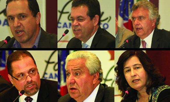 (direita) Elber Sampaio, Aguimar Jesuíno, Ronaldo Caiado, Aldo Muro, Vilmar Rocha e Marina Sant'Anna. Sabatinas permitiram que os advogados e eleitores goianos conhecessem as propostas dos candidatos ao Senado
