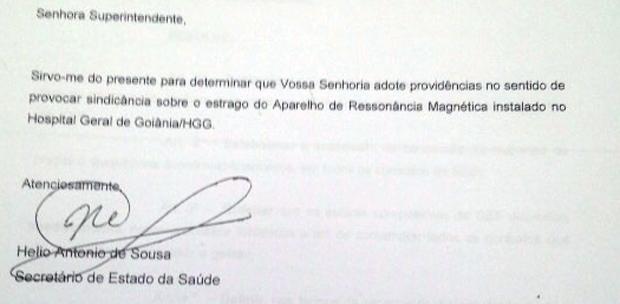 Em dezembro de 2008, Hélio de Sousa pediu sindicância a Irani Ribeiro sobre equipamento quebrado | Foto: Reprodução