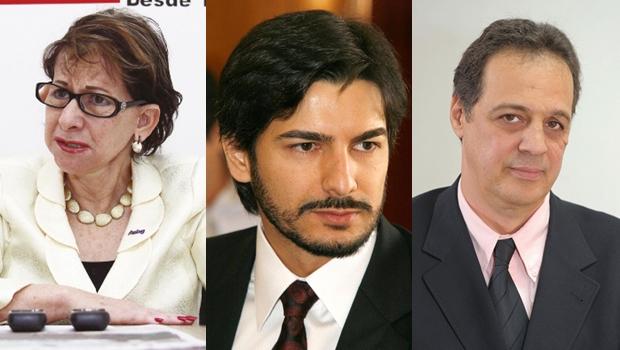 Helenir Queiroz, da Acieg; Thiago Miranda, da OAB; e Carlos Alberto Moura, do Sinduscon (Fotos: Fernando Leite / OAB-GO / Sinduscon)