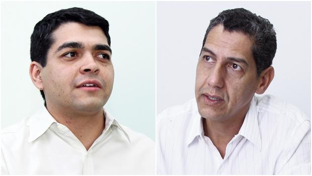 Diretor de Receita Imobiliária, José Marcos Pereira, e vereador Tayrone di Martino: posições distintas sobre o IPTU Fotos: Fernando Leite/Jornal Opção