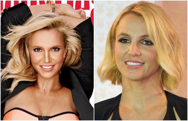 À esquerda, Britney Spears na capa da revista; à direita, a cantora em evento ainda em 2014