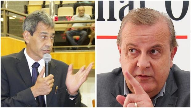 Novo líder do governo, Carlos Soares (PT), e prefeito Paulo Garcia | Fotos: Eduardo Nogueira / Fernando Leite