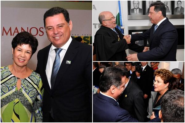 O governador com a a procuradora de Justiça de Goiás, Ivana Farina Navarrete Pena, que foi empossada no Conselho Nacional de Direitos Humanos; com o novo presidente do TCU, Aroldo Cedraz; cumprimentando a presidente Dilma Rousseff (PT)   Fotos: Laílson Damásio