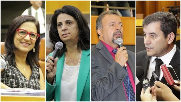 Vereadores Célia Valadão (PMDB), Dra. Cristina (PSDB), Elias Vaz (PSB) e atual presidente, Clécio Alves (PMDB) | Foto: Alberto Maia