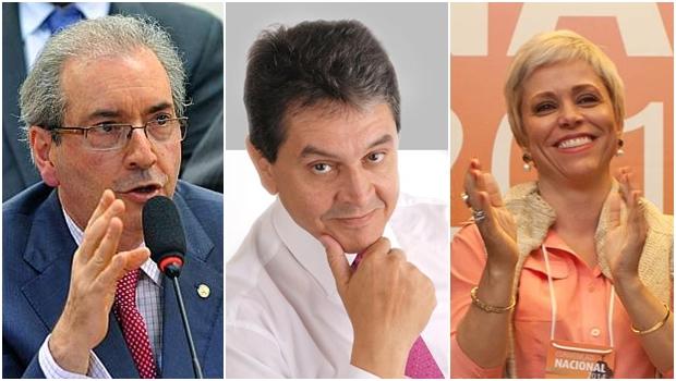 Deputado Eduardo Cunha (PMDB), ex-deputado e presidente do PTB Roberto Jefferson; e deputada federal reeleita Cristiane Brasil, presidente do PTB Mulher: todos contra a regulamentação da mídia | Fotos: sites oficiais