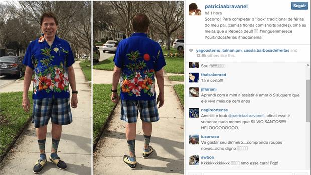Look de Silvio Santos chama atenção no Instagram