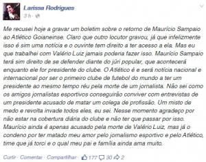 Foto: Publicação no perfil do Facebook da jornalista  Larissa Oliveira
