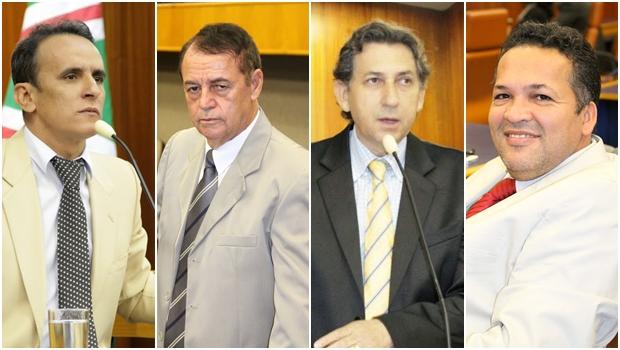 Vereadores do Bloco Moderado anunciam que vão votar pela derrubada do veto: Zander Fábio (PSL), Dr. Bernardo do Cais (PSC), Paulo da Farmácia (Pros) e Divino Rodrigues (Pros) | Fotos: Câmara Municipal