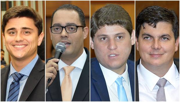 Novos deputados propõem recesso legislativo menor. Diego Sorgatto (PSD), Virmondes Cruvinel (PSD), Lucas Calil (PSL) e Jean (PHS) assinaram pedido | Fotos: Alego