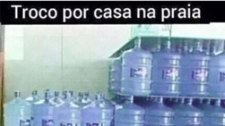 Publicação em redes sociais ironiza escassez de água:brincadeira com fundo de verdade