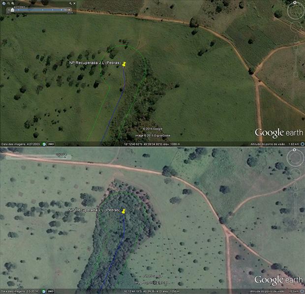 Ouro Verde teve a principal nascente do João Leite recuperada | Foto: Reprodução/Google Earth