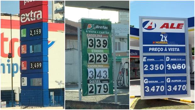 Após aumento de impostos, gasolina chega a R$ 3,49 em Goiânia