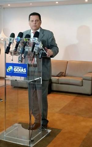Governador em coletiva de imprensa após reunião a portas fechadas com gestores do Detran. Primeira parte do encontro teve presença de jornalistas / Foto: Siga Marconi