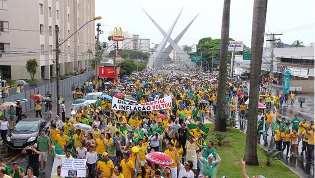 Manifestação de março | Foto: Fernando Leite / Jornal Opção