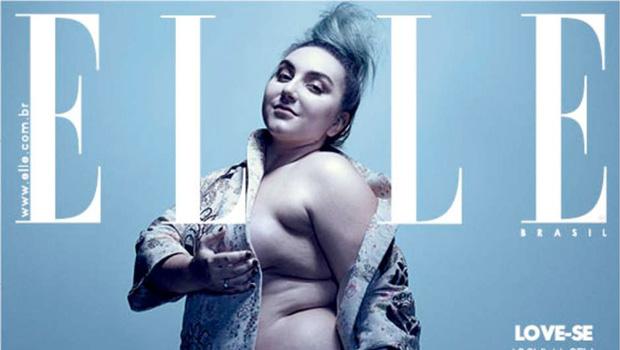 Sem retoque e sem roupa, modelo plus size estampa capa de revista de moda