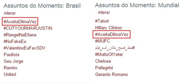 #AceitaDilmaVez é destaque nos Assuntos Mais Comentados do Twitter