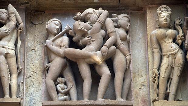 Detalhe de templo do kama sutra, em Khajuharo