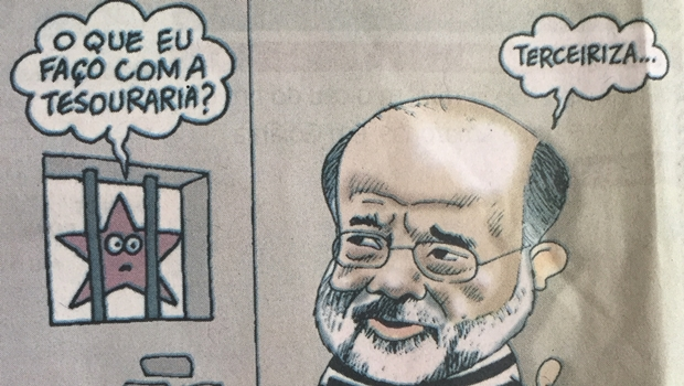 Charge de Jorge Braga põe Vaccari Neto sugerindo que o PT terceirize sua tesouraria