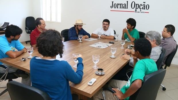 Renan Santos, Murilo Resende e Kim Kataguiri durante entrevista | Foto: Fernando Leite/Jornal Opção
