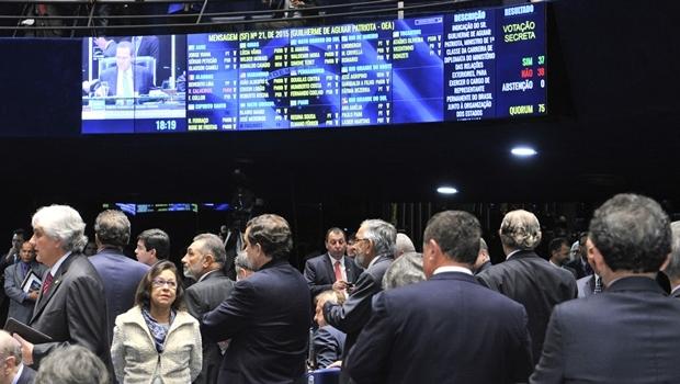 Painel eletrônico mostra resultado da votação que rejeitou a indicação de Guilherme Patriota para o cargo de representante do Brasil na OEA | Foto: Waldemir Barreto/Agência Senado