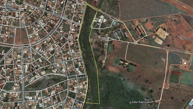 """Área sob posse do Clube Jaó que o MPGO afirma ter sido fruto de uma """"grilagem de terra"""""""