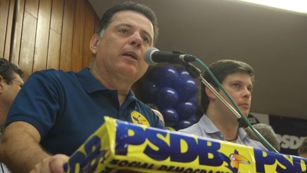 Governador Marconi Perillo, durante discurso na Câmara Municipal de Goiânia   Foto: Leoiran