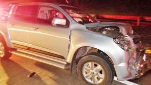 Caminhonete atingiu carro que dava apoio aos manifestantes | Foto: Polícia Rodoviária Federal/Divulgação