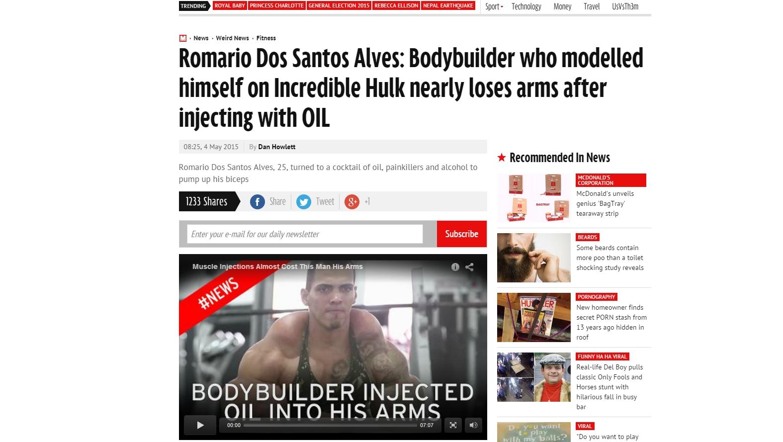 Goiano que queria se tornar o Hulk vira destaque em jornais internacionais