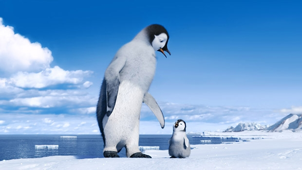 """(L-r) Mumble, voiced by ELIJAH WOOD; and Erik, voiced by AVA ACRES, in Warner Bros. Pictures' and Village Roadshow Pictures' animated family comedy adventure """"HAPPY FEET TWO,"""" a Warner Bros. Pictures release."""