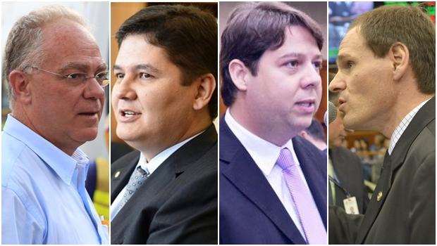 Paulo do Vale, Heuler Cruvinel, Karlos Cabral e Lissauer Vieira: disputa quádrupla?   Fotos: Facebook / Carlos Costa / Alego