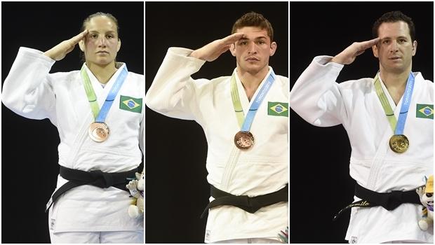 Judocas Maria Portela, Vitor Penalbra e Tiago Camilo: continência gera polêmica | Fotos: William Lucas/ Inovafoto/ Bradesco