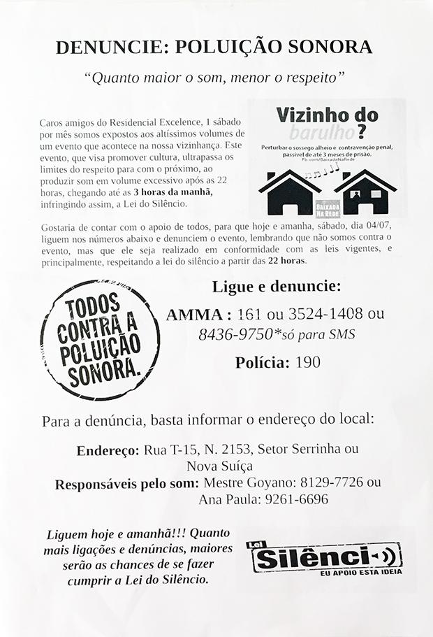 Panfleto não tem assinatura e pede denúncia à Polícia Militar e Amma | Foto: Reprodução/Alexandre Parrode