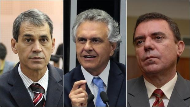 Vereador Carlos Soares (à esq), senador Ronaldo Caiado e o presidente metropolitano do PT, o deputado Luis Cesar Bueno | Fotos: Câmara de Goiânia/Facebook/Assembleia