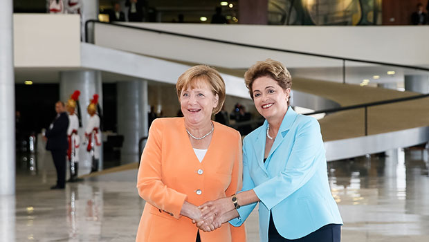 Dilma recebe Angela Merkel no Palácio do Planalto