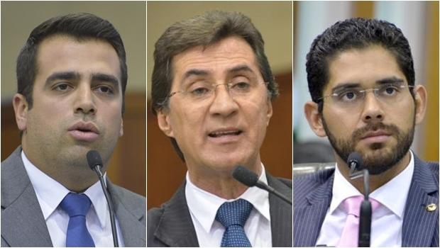 Deputados estaduais Gustavo Sebba, Chiquinho Oliveira e Lincoln Tejota: apoio ao voo nacional de Marconi | Foto: Y. Maeda