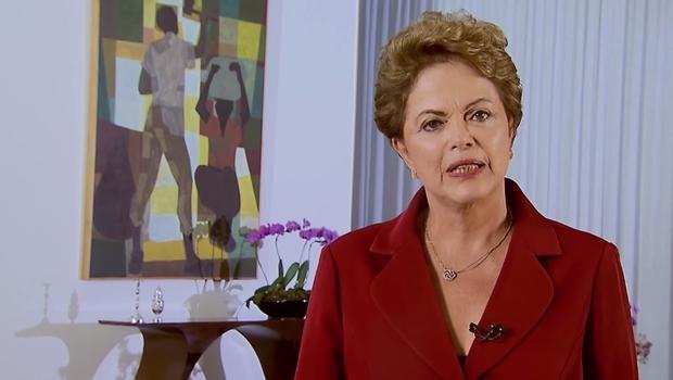 Dilma durante pronunciamento do Dia do Trabalhador | Foto: reprodução / vídeo