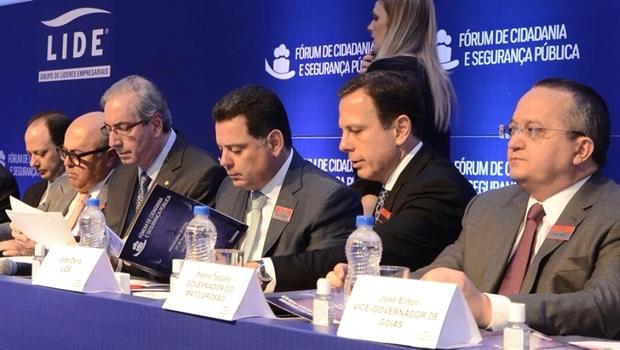 Eduardo Cunha participa do fórum, em Goiânia, ao lado do governador Marconi Perillo