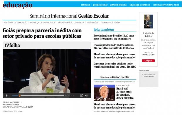Raquel Teixeira e o governo são destaques na Folha de S. Paulo