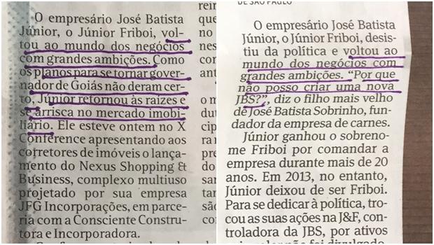 O Popular copia trechos de reportagem da Folha e não menciona a fonte