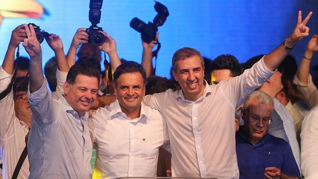 Marconi, Aécio e José Eliton durante o evento | Foto: Wilder Barbosa