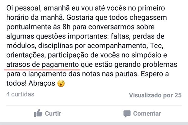 Alunos da PUC Goiás comentam cobrança em conversa por WhastApp   Reprodução
