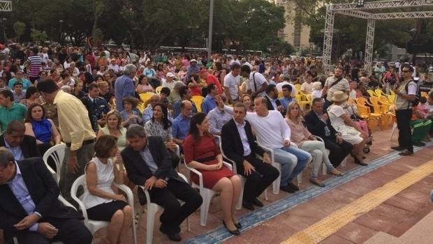 Autoridades durante solenidade de entrega das obras de revitalização da Praça Cívica | Foto: Alexandre Parrode