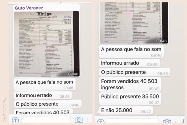 Trecho de conversação do presidente do Vila Nova em grupo do WhatsApp