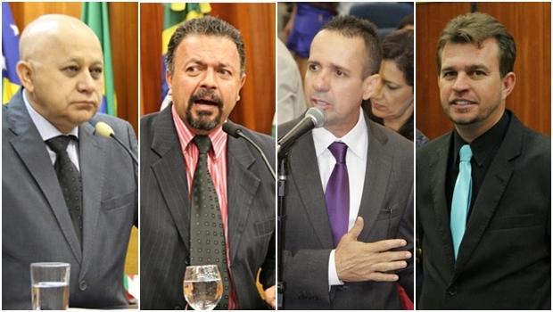 Vereadores Djalma Araújo (Rede), Elias Vaz (PSB), Geovani Antônio (PSDB) e Pedro Azulinho (PSB): PMDB é oportunista   Fotos: Câmara Municipal de Goiânia