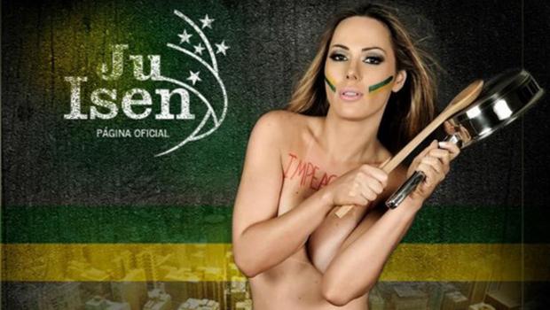 """""""Musa das manifestações"""" faz show em bordel de Goiânia"""