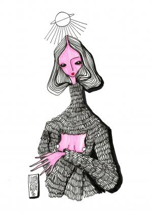 """Do artista e designer Lucas Ruiz, """"Irina""""; iustração criada especialmente para o projeto """"100 poemas de até 100 caracteres"""""""