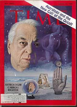 Capa de março de 1969 da Time Magazine, cuja edição destaca o astrólogo e colunista Carroll Righter. Por três meses, Adorno interpretou suas publicações, a fim de entender a estima pública da astrologia
