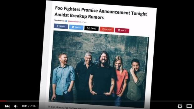 Em anúncio oficial, banda fala sobre notícias que divulgaram um possível fim do Foo Fighters | Foto: Reprodução/Youtube
