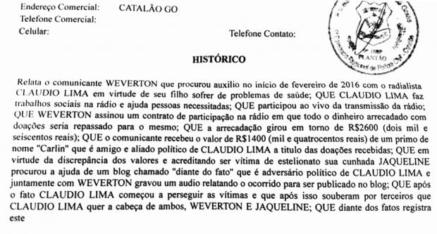 Boletim de ocorrência apresentado por Weverton José contra Cláudio Lima