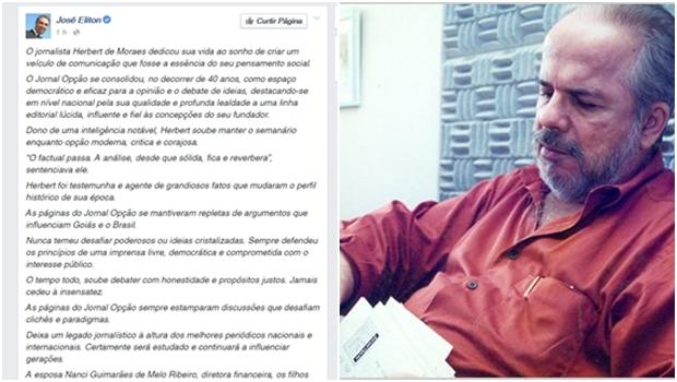 José Eliton presta homenagem ao fundador do Jornal Opção, Herbert de Moraes